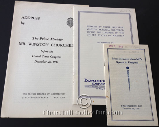 3 editions of the Churchill Speech delivered to US Congress on Dec 26, 1941