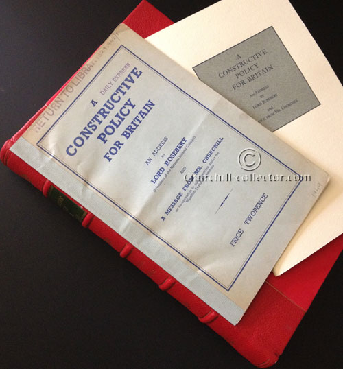 Protective book-like box custom-made to house the rare pamphlet A Constructive Policy For Britain