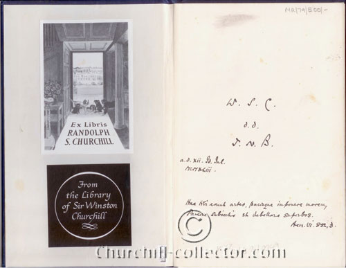 Inside cover and first page: showing Churchill's bookplate and the author's inscription to him