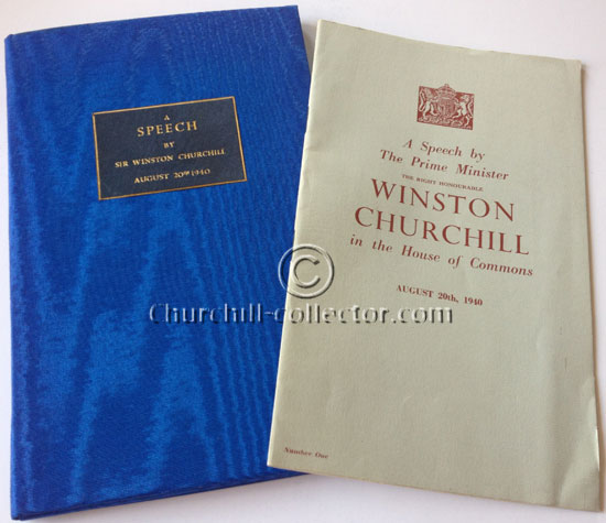 A Speech by The Prime Minister The Right Honourable Winston Churchill in the House of Commons