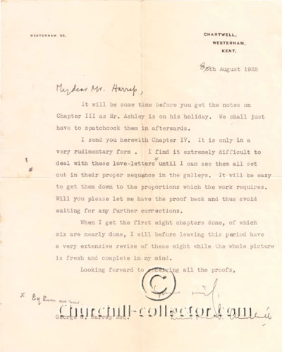 Letter from Churchill to Harrap, (publisher of the set of books (Marlborough) Churchill was writing)