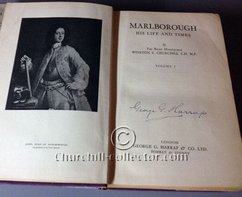MARLBOROUGH - HIS LIFE and TIMES: 1st Trade Edn. showing signature of George Harrap, the publisher