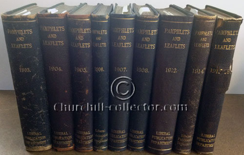 9 Volumes of the books: Pamphlets and Speeches by Winston Churchill