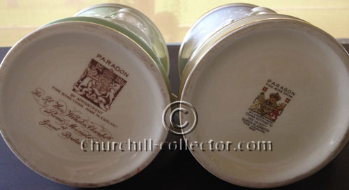 The bottom of 2 Churchill Paragon Tankards