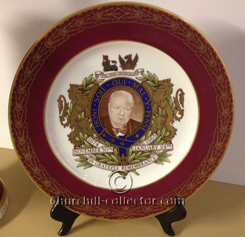 Spode Plate in rich claret, white, cobalt blue and gilt with lid