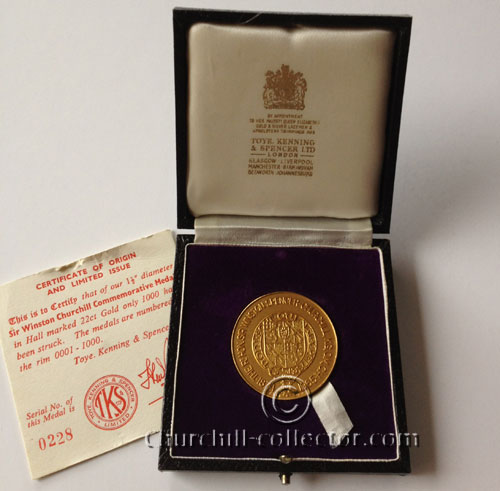 Winston Churchill Commemorative Medal 1965 with Certificate of Authenticity