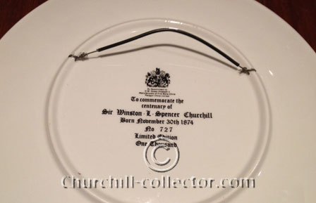 Base of Churchill paragon plate showing it is item # 727