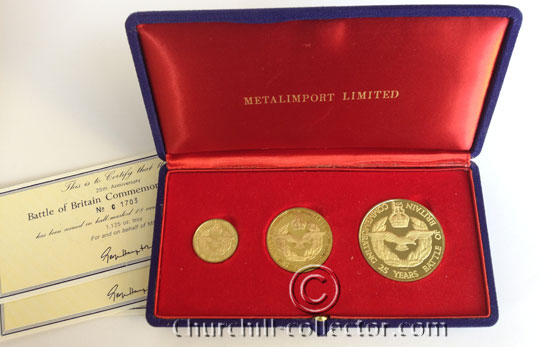 Battle of Britain Commemorative Medals: Set of 3 showing RAF Insignia