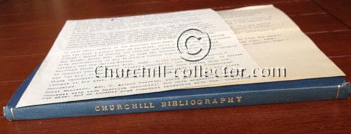 Bibliography of the works of Winston Churchill plus correspondence, Bernard Farmer