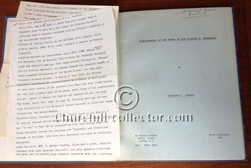 Bibliography of the works of Winston Churchill with original typewritten addenda, Bernard Farmer