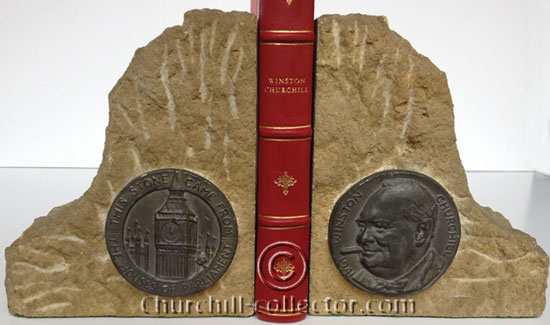 Bookends depicting Churchill and Big Ben made from the stone of the bombed House of Commons