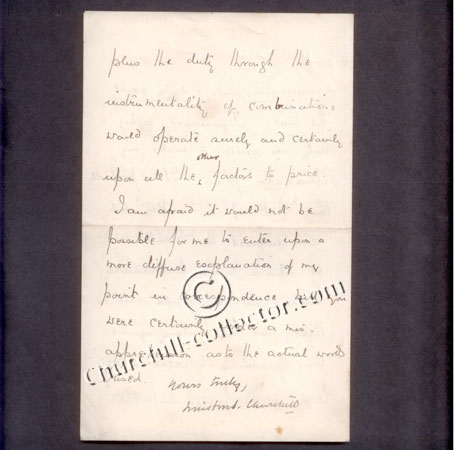 Back page of a letter written by Winston Churchill dated 1905