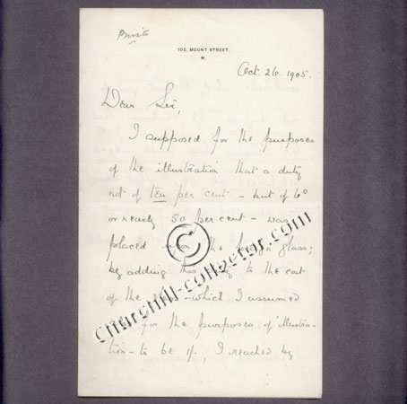 A letter written by Winston Churchill dated 1905