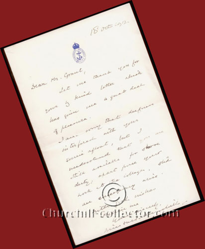 Autograph Letter Signed by Winston Churchill