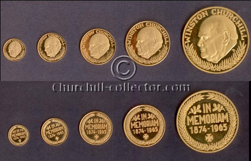 5 Gold Churchill Memorial Medals 1965