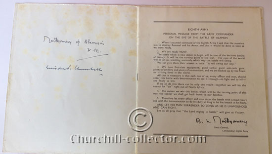 Churchill's and Montgomery's signatures on inside page of program at El Alamein Reunion 1946