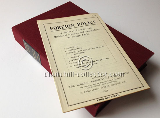 Foreign Policy Speech: including Winston Churchill's speech at Sheffield 1912