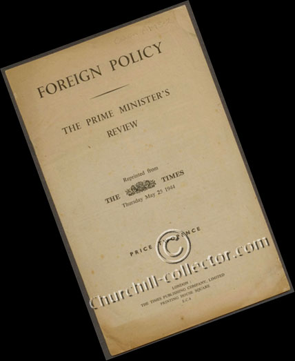 The pamphlet: Foreign Policy, The Prime Minister's Review by Winston Churchill