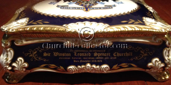 Front of  paragon Churchill cigar box showing inscription to Winston Churchill