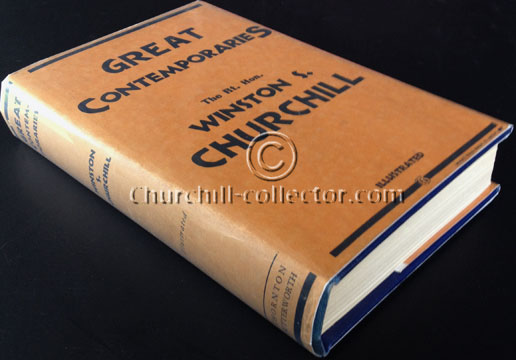 The book, GREAT CONTEMPORARIES by Winston Churchill, 1937 - 1st Edn, First State