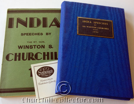 India, Speeches by Winston Churchill: soft green wraps preserved in blue flap-case