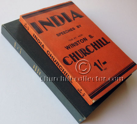 The book INDIA, 10 speeches by Winston Churchill in the scarcer dark reddish wrappers