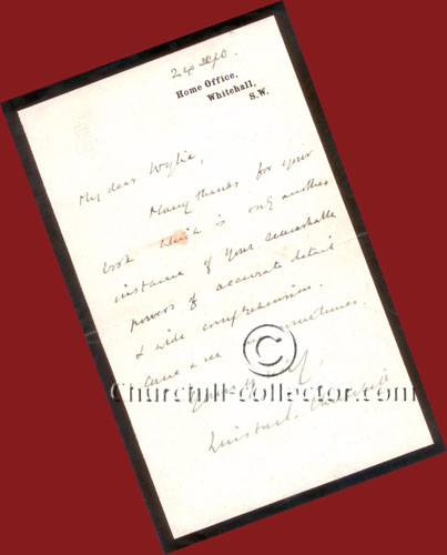 Hand Written Letter Signed by Winston Churchill