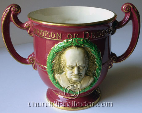 Churchill on Burgess and Leigh Two Handled Loving Cup in Crimson and Gold