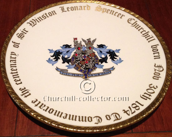 Paragon China plate matches the accompanying cigar box - Churchill Centenary 1974