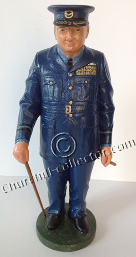 Carved Wood Caricature, Churchilliana- Winston Churchill in uniform of the Royal Air Force