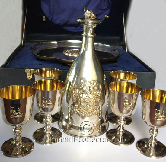 Silver gilt tray, decanter and six goblets made by Mappin & Webb in original presentation box