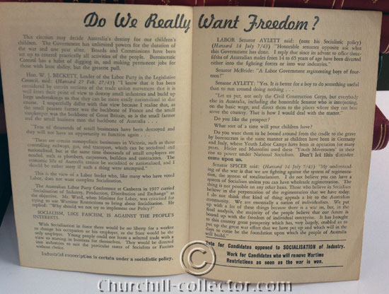 Winston Churchill Said: pamphlet from Australia - showing inside text