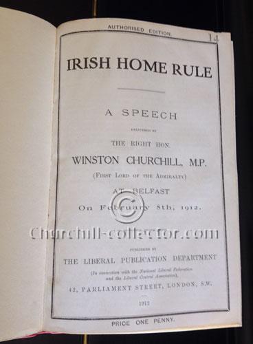 Irish Home Rule - a speech by Winston Churchill on Feb 8th 1912