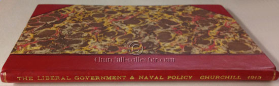 The Liberal Government and Naval policy Churchill Speech bound in 3/4 red calf leather with marbled boards