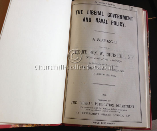 The Liberal Government and Naval policy, a Speech by Winston Churchill 1912