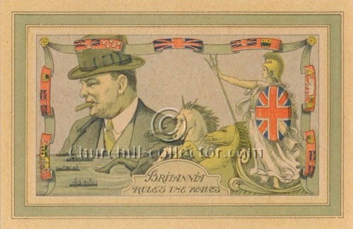 Vintage Postcard - Front - Churchill, Brittania Rules the Waves