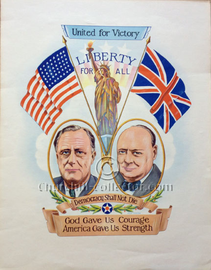 Large wartime poster of Churchill and Roosevelt - Original in fine condition