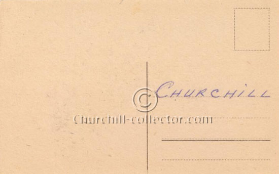 'CHURCHILL' in bold capitals has been written on the top line Churchill Wartime Postcard
