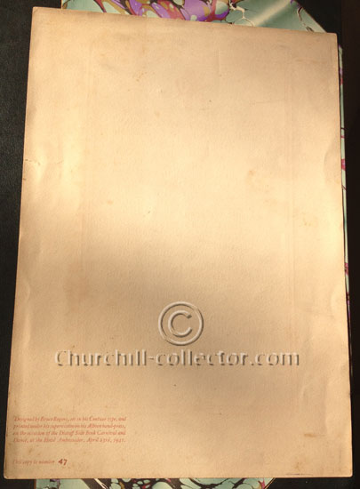 Backside of the page of Winston Churchill's speech printed by Bruce Rogers in his type, Centaur. This speech pamphlet is No. 47