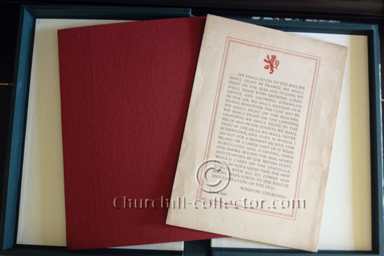 Interior of protective clamshell book-like box protecting Winston Churchill's speech of June 4th, 1940