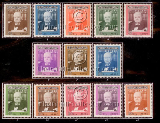 C584 / 20c / WSC Portrait - A set of 13-color trial proofs hinge mounted by the printer, only 2 sets exist