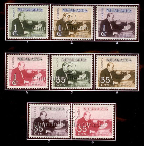 C585 / 35c / WW2 - A set of 4-color trial proofs hinge mounted (numbered 5 - 8) on a board with 4 - 1C stamps (numbered 1 - 4)