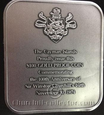 Closeup of legend inside presentation case of $100 Churchill Centenary Gold Coin - 1974