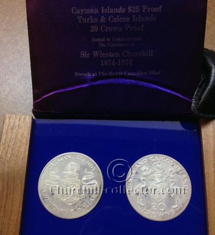 2 Churchill Centenary Commemorative Coins in original presentation case - Turks & Caicos, Cayman Islands