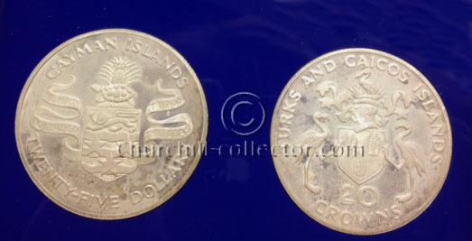 2 Churchill Centenary Silver Commemorative Coins - Turks & Caicos 20 Crowns, Cayman Islands $25