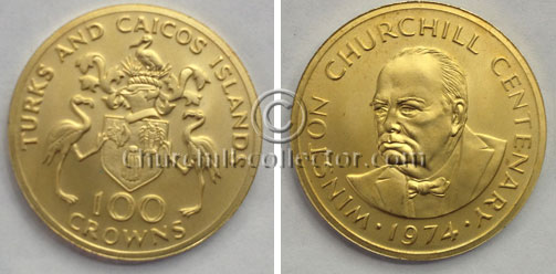 Turks and Caicos Islands 100 Crowns CHURCHILL Centenary / Commemorative Gold Proof Coin