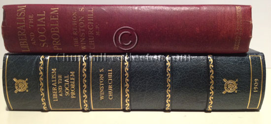 The book, Liberalism and the Social Reform by Winston Churchill shown here with its custom-made protective quarter blue leather clamshell book-like box with gilt titling on the spine