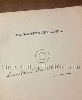 page 7, the title page of the chapter Mr. Winston Churchill is his full signature