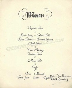 Inside page: Churchill Xmas Dinner Menu signed by Churchill, Eisenhower and Montgomery. Christmas 1945