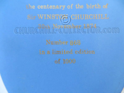 Text on back side of Churchill Cameo by Wedgwood